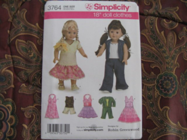 "Simplicity 3764 American Girl 18"" Doll clothes pattern DISCONTINUED  NEW in envelope"