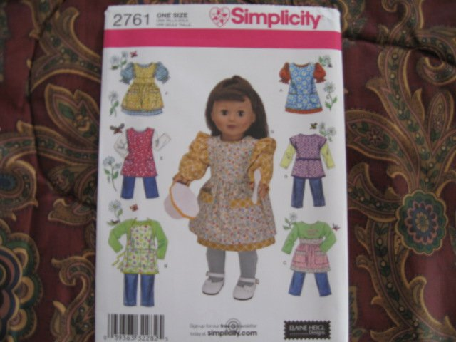 """SIMPLICITY 2761 AMERICAN GIRL 18"""" Doll clothes pattern dress, 1940's 1950's APRONS, SMOCK NEW"""