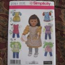 "SIMPLICITY 2761 AMERICAN GIRL 18"" Doll clothes pattern dress, 1940's 1950's APRONS, SMOCK NEW"