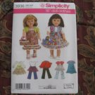 "SIMPLICITY 3936 AMERICAN GIRL 18"" DOLL CLOTHES PATTERN DRESS SHRUG TIERED SKIRT  NEW"