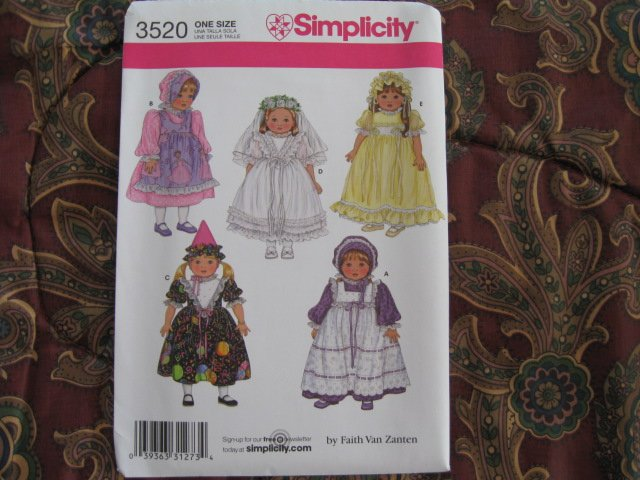"simplicity 3520 AMERICAN GIRL 18"" DOLL CLOTHES PATTERN PARTY DRESSES & HATS BRIDE NEW DISCONTINUED"