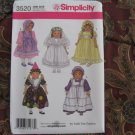 """simplicity 3520 AMERICAN GIRL 18"""" DOLL CLOTHES PATTERN PARTY DRESSES & HATS BRIDE NEW DISCONTINUED"""