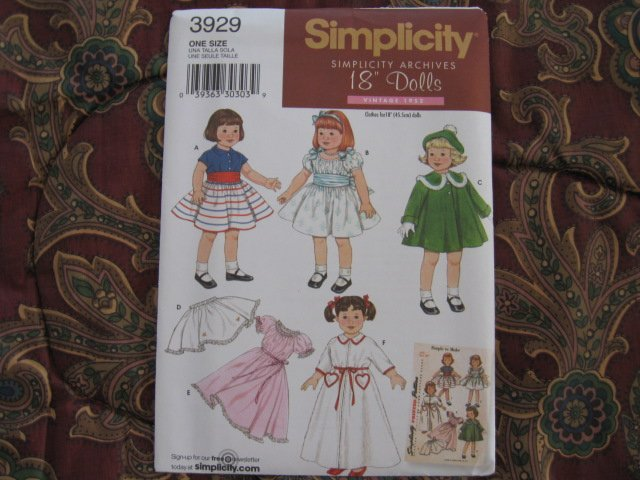 """SIMPLICITY 3929 AMERICAN GIRL 18"""" DOLL CLOTHES PATTERN  ARCHIVE 1950'S  NEW"""