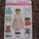 """SIMPLICITY 4364 AMERICAN GIRL 18"""" DOLL CLOTHES PATTERN NEW in envelope DRESS, BOLERO, ICE SKATING"""