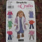 "SIMPLICITY 4786 AMERICAN GIRL 18"" DOLL CLOTHES PATTERN DRESS, COAT, BOOTS NEW"