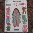"""SIMPLICITY 5276 AMERICAN GIRL 18"""" DOLL CLOTHES PATTERN PAJAMAS & UNDERGARMENTS NEW"""