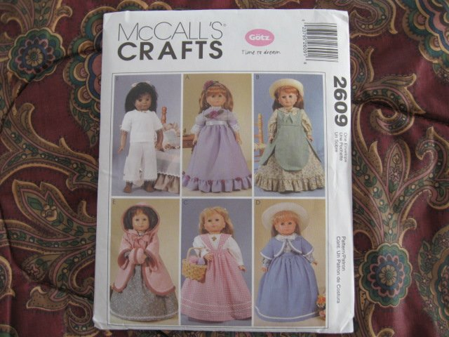"""McCall's 2609 American Girl 18"""" Doll clothes pattern UNCUT NEW HISTORICAL DISCONTINUED"""
