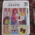 """McCALL'S 3469 AMERICAN GIRL 18"""" DOLL CLOTHES PATTERN NEW in envelope ACCESSORIES HAT, SHOES, BOOTS"""