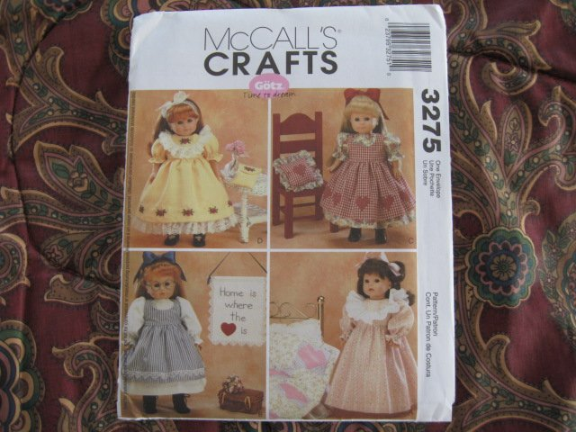 """McCALLS 3275 AMERICAN GIRL 18"""" DOLL CLOTHES PATTERN NEW UNCUT DISCONTINUED GOTZ"""