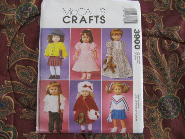"""McCALL'S 3900 AMERICAN GIRL 18""""DOLL CLOTHES PATTERN NEW DRESS, COAT, HIPPIES 70'S TOP, CHEERLEADER"""