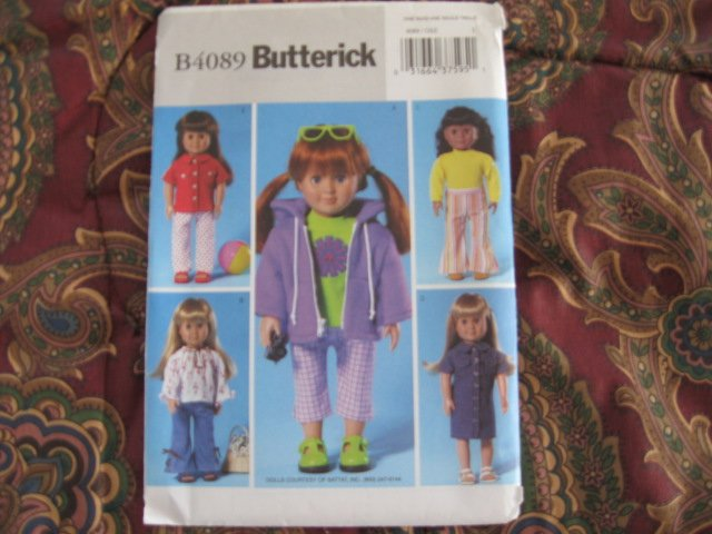 """Butterick 4089 American Girl 18"""" Doll clothes pattern  NEW FLARE PANTS, HOODY, 70""""S TOP, T-SHIRT"""