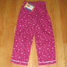 McKIDS GIRL'S SIZE 5 FUCHSIA CORDUROY PANTS WITH PINK ROSES PRINT NEW WITH TAG