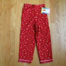 McKids Size 5 red corduroy pants with pink roses print NEW with tag