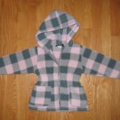 AVALANCHE SIZE 3T PINK AND GRAY BUFFALO PLAID HOODED FLEECE JACKET