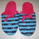 SIZE 4/5 BEDROOM SLIPPERS blue & black stripe w/ fuschia NEW W/ TAG