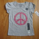 FADED GLORY SIZE S (6 - 6X) GRAY T-SHIRT W/ PINK PEACE SYMBOL NEW WITH TAG