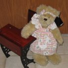 Pacific Craft Tan Faux Fur Bear with print apron and hair tie.  NEW with tag