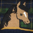 HEARTWORKS SIZE 4 T NAVY & GREEN PLAID HORSE SWEATER FROM SEARS CLASSIC, VINTAGE