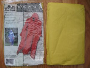 OLD MILL RAIN PONCHO yellow ONE SIZE FITS ALL NEW IN PACKAGE with hood