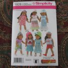 SIMPLICITY 1928 AMERICAN GIRL DOLL CLOTHES SEWING PATTERN EASY BEGINNER DRESS TOP SKIRT HATS NEW