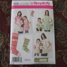 "Simplicity 1936 American Girl 18"" Doll clothes sewing pattern NEW APRON ADULT, CHILD"