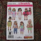 "Simplicity 2302 American Girl 18"" Doll clothes sewing pattern NEW PILLOWCASE DRESS +++"