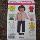 "SIMPLICITY 4297 AMERICAN GIRL 18"" DOLL CLOTHES PATTERN PONCHO, HOODED SWEATSHIRT NEW"