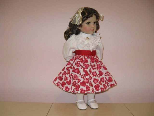 """Life of Faith 18"""" doll clothes Valentine's Day RED & PINK SKIRT fits American Girl MOLLY, KIT"""