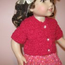 "AMERICAN GIRL NICKI, MARISOL 18"" DOLL CLOTHES FUSCHIA CARDIGAN SWEATER SHORT SLEEVE LIFE OF FAITH"
