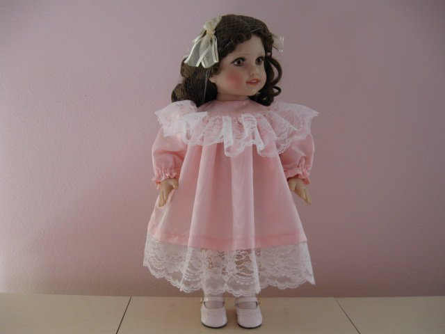"LIFE OF FAITH 18"" DOLL CLOTHES PINK MOIRE TAFFETA VICTORIAN DRESS AMERICAN GIRL SAMANTHA"