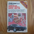 CHILTON Automotive Repair Manual for DODGE PLYMOUTH CHRYLSER FRONT WHEEL DRIVE 1981 - 1988