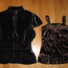 XHILARATION SIZE M (10-12??)  GIRL'S BROWN CRUSHED VELVET CAMISOLE & ARDEN B. VELVET JACKET 2 pc.