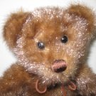 MINKY BROWN FAUX FUR BEAR WITH LEATHER STRAP BOW BY FIRST & MAIN