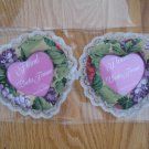 HEART SHAPED FLORAL PHOTO FRAME S GREEN & PURPLE FABRIC & LACE SET OF 2 NEW IN PACKAGE