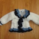 HANDMADE CROCHETED SWEATER GIRLS SIZE 12 MONTHS IVORY & BLUE  VINTAGE HEIRLOOM