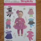 "SIMPLICITY 1711 AMERICAN GIRL 18"" DOLL CLOTHES SEWING PATTERN T-SHIRT, LEGGINGS TUTU TUTU NEW"