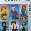 "McCALL'S M 3474 AMERICAN GIRL18""DOLL CLOTHES PATTERN NEW WINTER DRESS, JEANS, HATS"