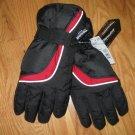 New Sears Ski Snowboard Snow Gloves BLACK W/ RED & GRAY TRIM, rubber palm, Thinsulate