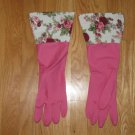FASHION KITCHEN GLOVES PINK FLOWERS, NEW IN PACKAGE FROM HANCOCK'S FABRICS GLAMOUR CLEANING GLOVES