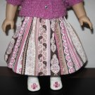 "AMERICAN GIRL SAIGE, McKENNA 18"" DOLL CLOTHES MAUVE, BROWN & IVORY STRIPED SKIRT LIFE FAITH"