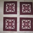 BURGANDY & IVORY 4 CHEATER QUILT BLOCK 16 INCH SQUARES