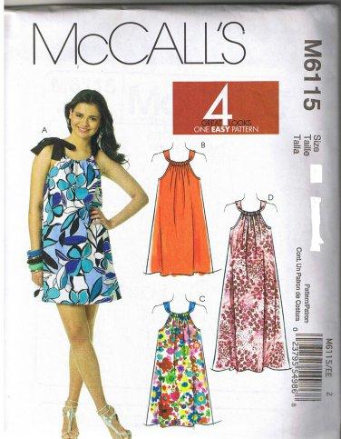 Mccalls 6115 Womens Pillowcase Dress Sewing Pattern New Uncut