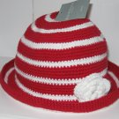 SONOMA WOMENS ONE SIZE RED AND WHITE STRIPED HAT NEW WITH TAG CROCHETED FLOWER
