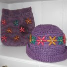 PURPLE HAT & BACKPACK / PURSE W/ BEADS VINTAGE HIPPIE HIPPY BOHO