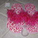 WOMEN'S OR JUNIORS SMALL 6-7 PINK FUN FUR DECORATED FLIP FLOPS LEOPARD PRINT MAGENTA FUCHSIA SANDALS