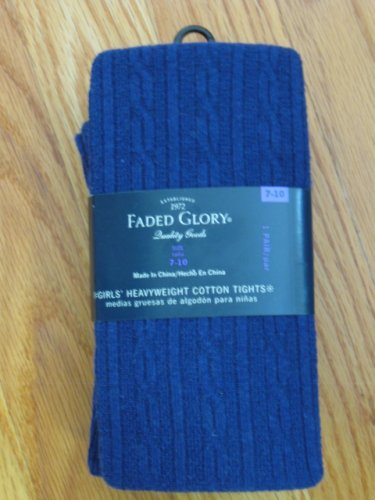 FADED GLORY GIRL'S SIZE  7 - 10 BLUE COTTON SPANDEX CABLE TIGHTS NEW IN PACKAGE ICE SKATING LEGGINGS