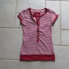 SO WOMEN'S SIZE S HENLEY 10 BUTTON SHIRT RED & WHITE STRIPE KNIT PULLOVER TOP PATRIOTIC CLASSIC