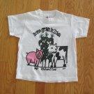 HANES GIRL'S BOY'S SIZE S (6-8) T-SHIRT WHITE FARM SCENE HOME GROWN IN IOWA PIG, COW, CORN
