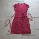 EXPRESS WOMEN'S SIZE M DRESS SALMON & BURGUNDY ALLIGATOR PRINT WRAP TIE SUMMER