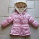 OSHKOSH GIRL'S SIZE 2 T COAT QUILTED PINK SATIN HOOD PARKA JACKET WINTER OUTERWEAR FLEECE